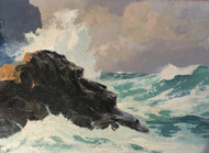 "Jack Coggins (AMER 1911-2006) ) ""Pounding Surf"" Oil Painting Gold Custom Frame"