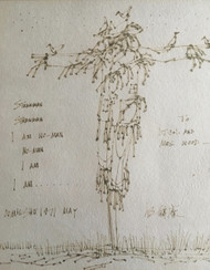 "Ou Mie Shu (1928-1999) ""Strawman Strawman, I am No-Man"" Drawing Poem Framed 1971"