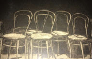 "LINDA ADATO : (1942 Listed) ""The Chairs"" Etching and Aquatint 1978 Framed"