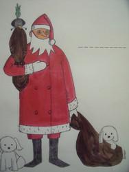 "Nancy Winslow Parker: ""Santa & Puppy"" Original Christmas Card Signed"
