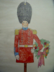 "Nancy Winslow Parker: LIsted Illustrator & Author (NYC 1933- 2014) ""Christmas Wreath & Toy Soldier""  Original Christmas Card"