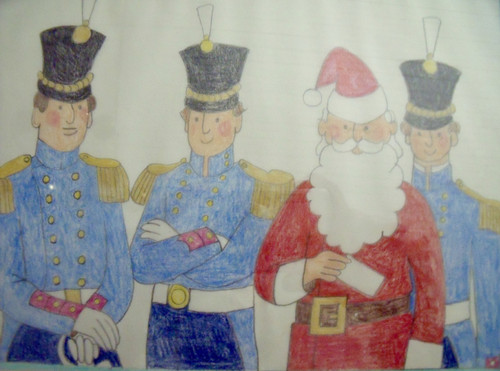 """Nancy Winslow Parker: LIsted Illustrator & Author (NYC 1933- 2014) """"Santa & Toy Soldiers"""""""