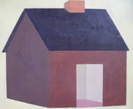 "Nancy Winslow Parker: Listed Illustrator (NYC 1933- 2014) "" House with Black Roof ""  Oil Painting"