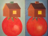"Nancy Winslow Parker: ""Floating Houses"" Oil on Canvas"