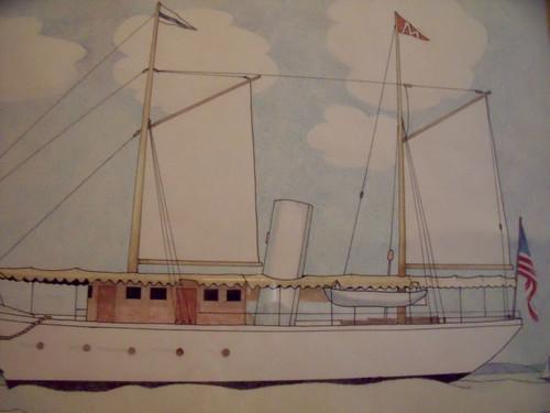 "Nancy Winslow Parker Listed Illustrator (NYC 1933- 2014) ""Sailing Ship""  Watercolor Ca 1980 Framed"