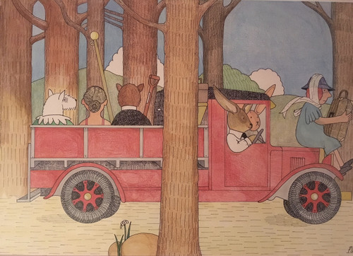 "Nancy Winslow Parker Listed Illustrator (NYC 1933- 2014) ""Mrs Wilson Wanders Off"" Cover Illustration Watercolor Framed"