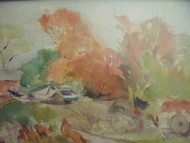 "Grace Huntley Pugh: Listed (1912- 2010) ""Rockport Autumn Farm""  Watercolor Ca 1965"