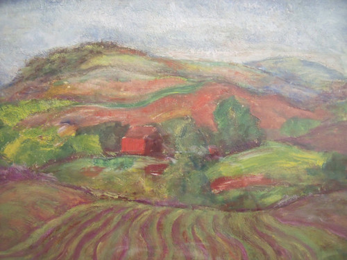 "Grace Huntley Pugh: LIsted Artist (1912- 2010) ""Farmland In New England""  Oil on Paper Gold Frame 1937"