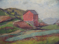 "Grace Huntley Pugh: LIsted Artist (1912- 2010) ""Farm In New England""  Oil on Paper Gold Frame Ca 1937"