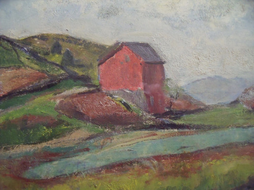 """Grace Huntley Pugh: LIsted Artist (1912- 2010) """"Farm In New England""""  Oil on Paper Gold Frame Ca 1937"""