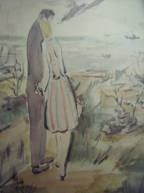 "Grace Huntley Pugh: Listed Artist (1912- 2010) ""Our Love"" Gold Frame Ca 1940"