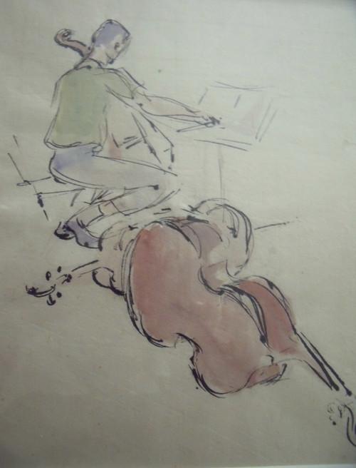 "Grace Huntley Pugh: Listed Artist (1912- 2010) ""The Celloist"" Watercolor Illustration Ca 1970 Framed"