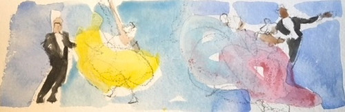 "RICHARD AHR:1929-2012 NEW YORK CITY ""Waltz"" Watercolor Painting 2005"