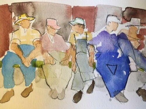 "RICHARD AHR:1929-2012 NEW YORK CITY ""Working Men"" Watercolor Painting 2003"