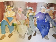 "RICHARD AHR:1929-2012 NEW YORK CITY ""Working Men"" Watercolor Painting 2003"