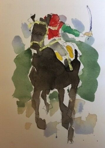 """RICHARD AHR:1929-2012 NEW YORK CITY """"Home Stretch"""" Horse Watercolor Painting 1998"""
