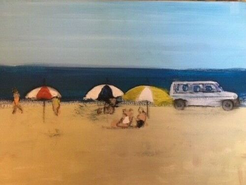 "RICHARD AHR: 1929-2012 NEW YORK CITY ""At The Beach"" Painting 2002"