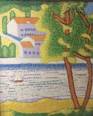 "STEPHEN SLOMKO: (Amer 1929-2013 ) ""Town On the River w/Boat"" Oil Painting Pointillist Framed"