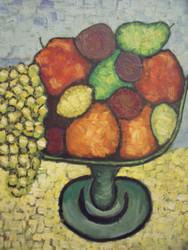 """STEPHEN SLOMKO (Amer 1929-2013 ) """"Bowl of Fruit"""" Oil Painting Artist Self-Framed"""