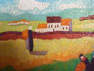 "STEPHEN SLOMKO (Amer 1929-2013 ) ""Reapers Revisted"" Impasto Oil Painting C 1990"