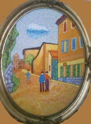 """STEPHEN SLOMKO: (Amer 1929-2013 ) """"Downtown Stroll """" Impasto Oil Painting Oval Framed"""