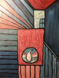 "STEPHEN SLOMKO (AMER 1929-2013 ) ""PEAR IN THE STAIRS"" OIL CUSTOM FRAMED"