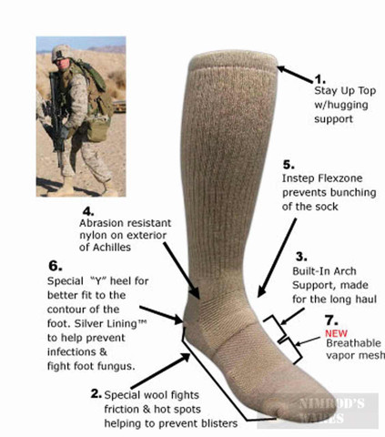 Covert Threads DESERT Military Boot Socks MED CB 5457