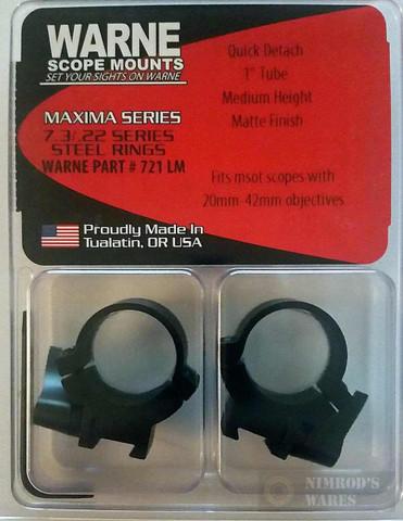"WARNE Maxima QD 1"" Med Scope Rings 11mm 3/8"" 721LM"