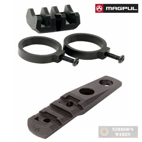 MAGPUL MAG614-BLK Light Mount V-Block and Rings + MAG587 M-LOK Polymer Cantilever Rail / Light Mount