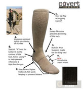 Covert Threads DESERT Military Boot Socks LG BLK 5157