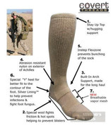 Covert Threads DESERT Military Boot Socks LG SD 5157