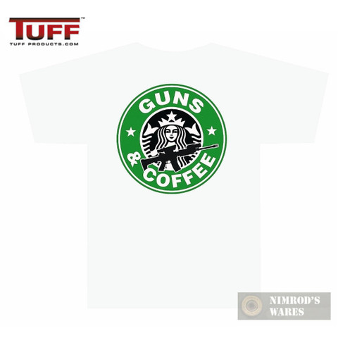 """TUFF 3001 """"GUNS AND COFFEE"""" T-Shirt WHITE SMALL Front/Back Small/Large Logos"""