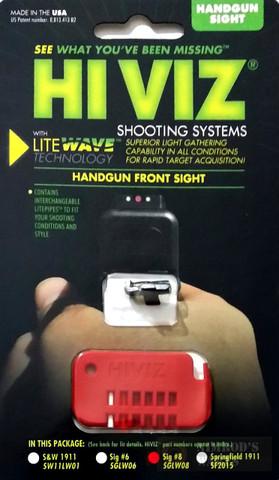 HiViz Front Sight for Sig Sauer P-Series Handguns (except P250) #8 SGLW08