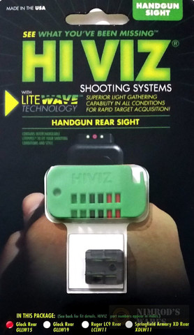 HiViz Rear Sight for GLOCK 9mm 40SW 357Sig Handguns GLLW15