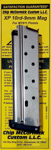 Chip McCormick 1911 XP 9mm 10 Round Magazine SS 19003