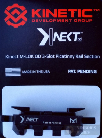 KINETIC Single 3 Slot QD / Quick Detach M-LOK Rail Section KIN5-100