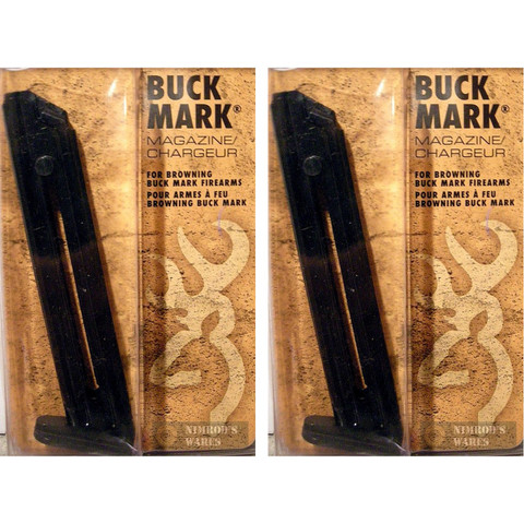 2-PACK BROWNING 112055190 Buck Mark Pistol 22LR 10Rd STEEL Magazines