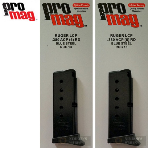 1198ProMag RUG13 Ruger® LCP 380ACP 6Rd BL Steel Magazine