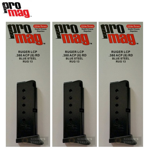 3-PACK ProMag Ruger LCP 380ACP 6-Round Steel Magazines RUG13