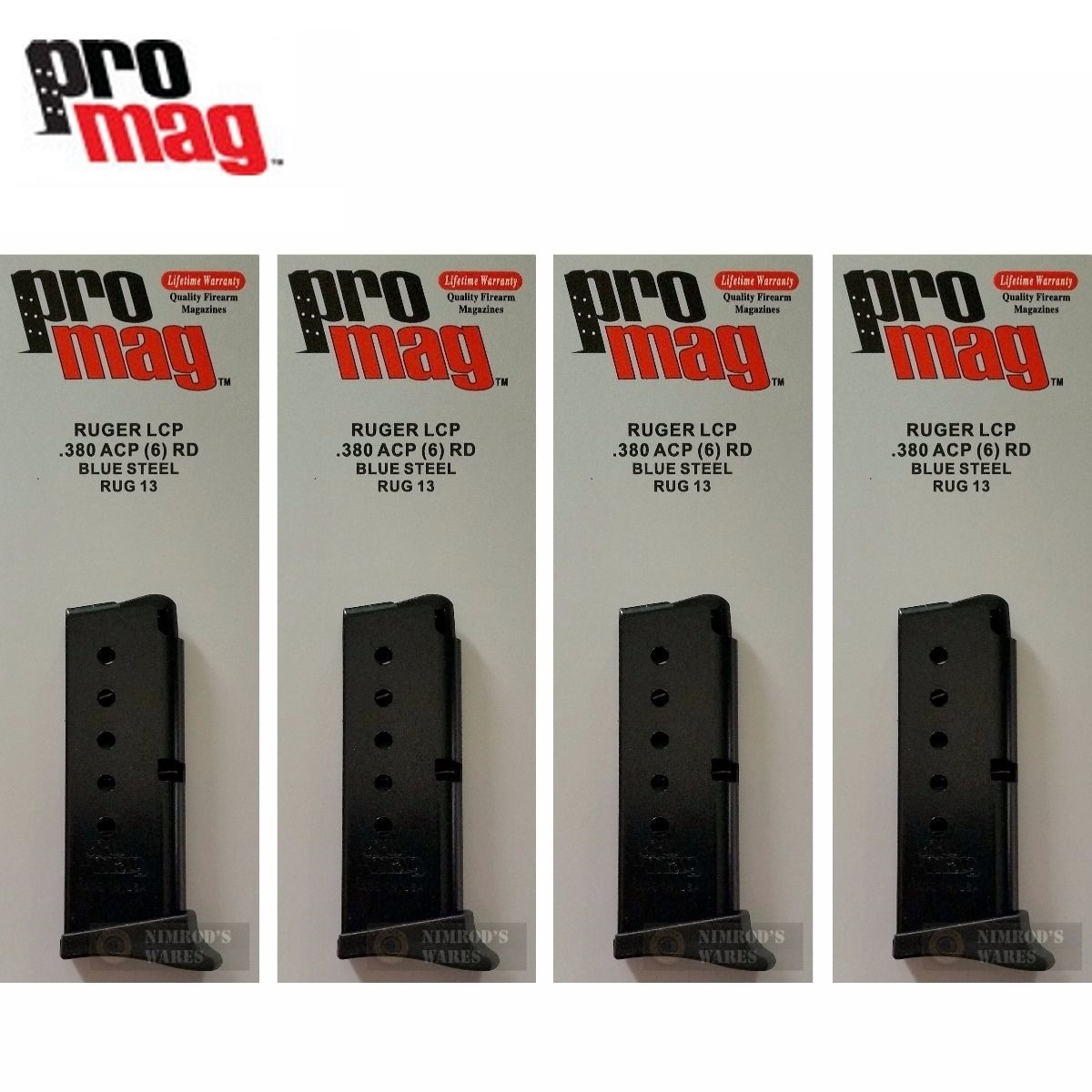 ProMag RUGER LCP  380 ACP 6 Round MAGAZINE 4-PACK RUG13 Steel