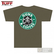 "TUFF ""GUNS AND COFFEE"" T-Shirt OD Medium Front/Back Small/Large Logos 3001OD"