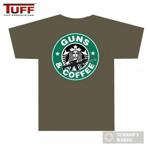 "TUFF ""GUNS AND COFFEE"" T-Shirt OD Medium Front/Back Small/Large Logos 3001OD"