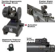 GG&G Spring Actuated REAR Back Up Sight w/ Tritium Aperture 1005SAT