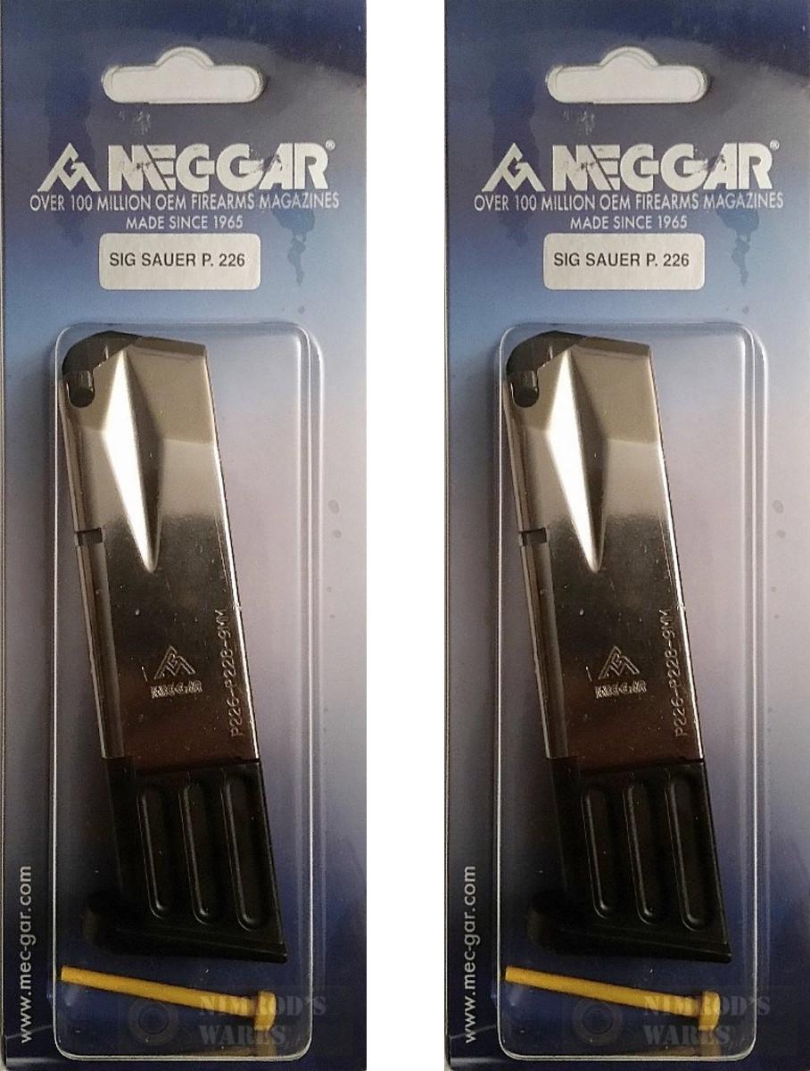 Mec-Gar MGP22610N Nickel 10 Round MAG Magazine For Sig Sauer P226 9mm Pistol