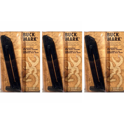 BROWNING 112055190 Buck Mark Pistol 22LR 10Rd STEEL Magazine 3-PACK