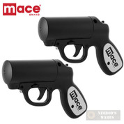 MACE Pepper GUN 20ft. Range Defense SPRAY 2-PACK Strobe LED 80405 80585