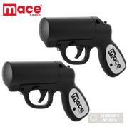 MACE Pepper GUN 20ft. Range Defense SPRAY 2-PACK Strobe LED 80405 80585