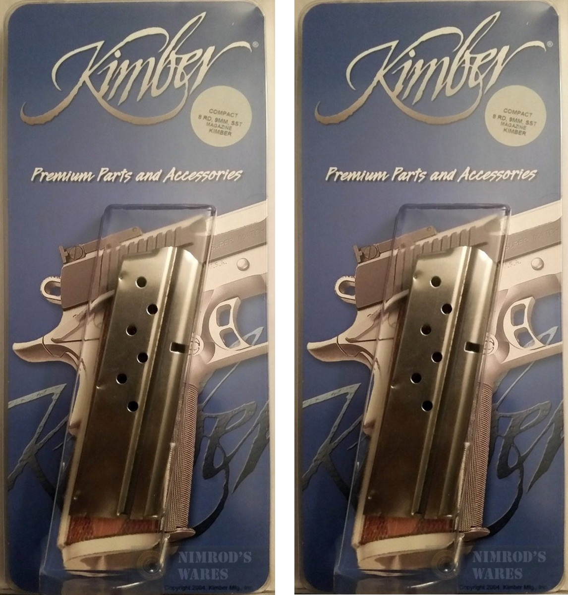 KIMBER 1911 9mm 8 Round MAGAZINE 2-PACK Compact Ultra Colt Officer 1000139A