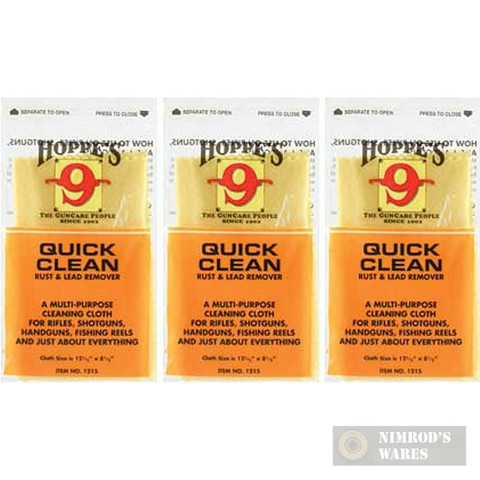 Hoppe's Quick Clean RUST & LEAD Remover Cloth 3-PACK 1215