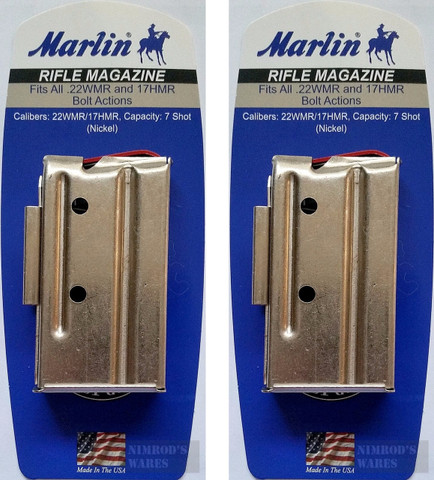 Marlin Bolt Action 22WMR 22M 17HMR 7-Round Nickel Magazine 2-PACK 71922
